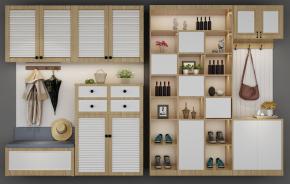 北欧多功能鞋柜摆件组合3D模型