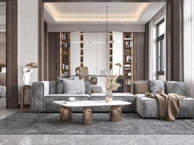 现代轻奢别墅客厅3d模型