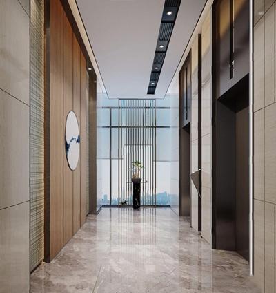 新中式电梯间 新中式其他 电梯间 过道 端景台 盆栽