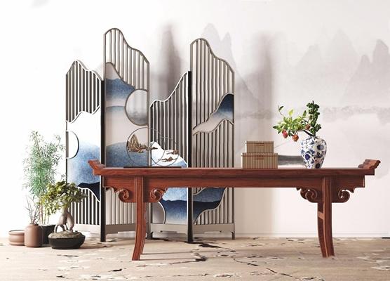 新中式条案屏风组合 新中式边柜/玄关柜 屏风 条案 案几 盆栽 饰品 摆件