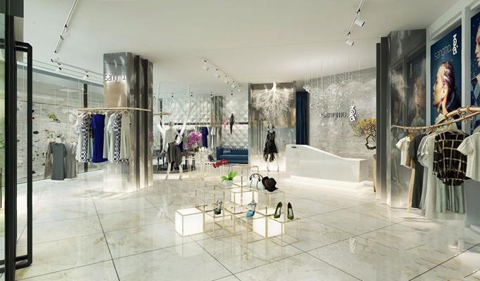 现代服装店 现代服装店 收银台 衣服 服装 模特 吊灯 筒灯 门头 橱窗