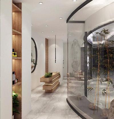 新中式中医理疗按摩院 新中式会所 SPA 理疗按摩院 门厅 过道 门头 竹子 盆栽 吊灯 背景墙 椅子 边几