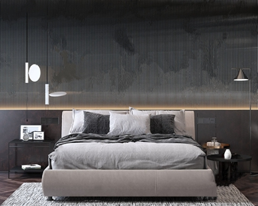 现代轻奢床具组合 现代双人床 边几 落地灯 吊灯 地毯 床品