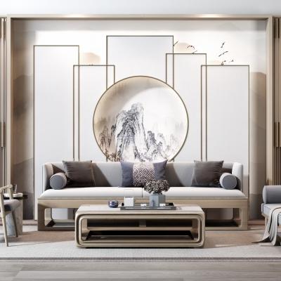 新中式沙发茶几屏风摆件组合3D模型