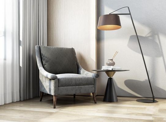 北欧单人沙发落地灯组合 北欧单人沙发 落地灯 边几 摆件 床品