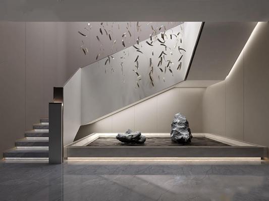 新中式楼梯间 新中式楼梯间 吊灯 石头 景观