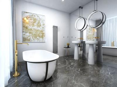 Oooox设计 布拉格现代阁楼公寓洗手间 现代卫浴 浴缸 洗手台 梳妆镜 边几 挂画 担忧吊灯