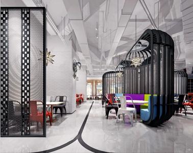 工业风机器人餐厅 工业风餐饮空间 餐桌 餐椅 卡座 吊灯 多人沙发 陈列架 迎宾台 机器人
