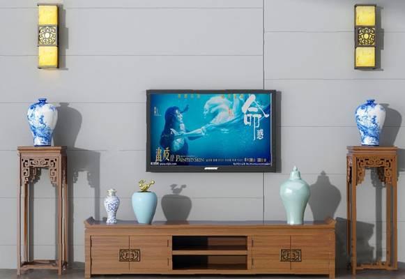 中式电视柜3D模型