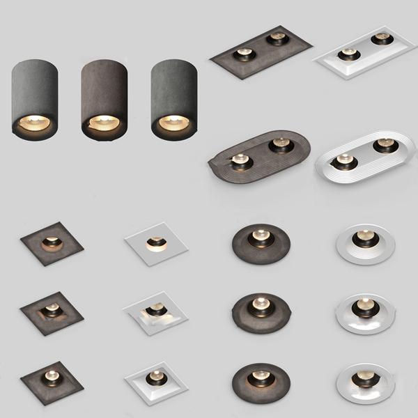 現代暖光吸頂射燈筒燈3d模型