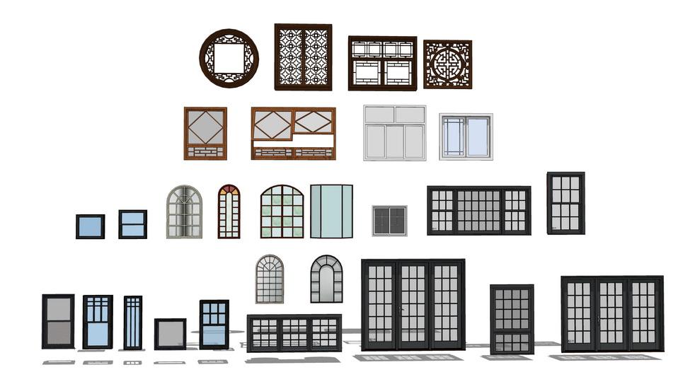 建筑窗户组合SU模型