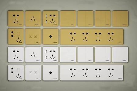 现代开关插座插板组合3d模型
