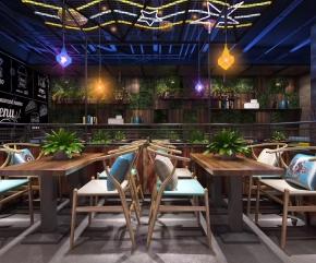工业风休闲餐厅3D模型