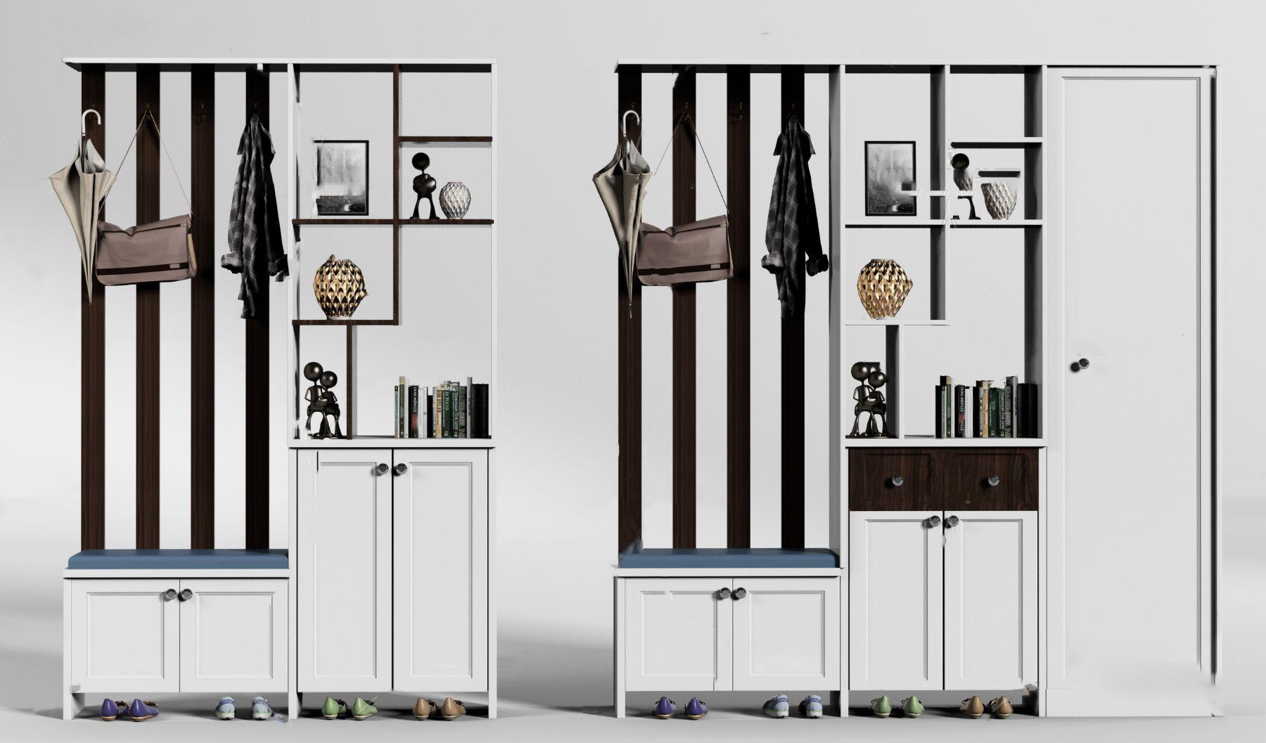 现代实木鞋柜组合3d模型