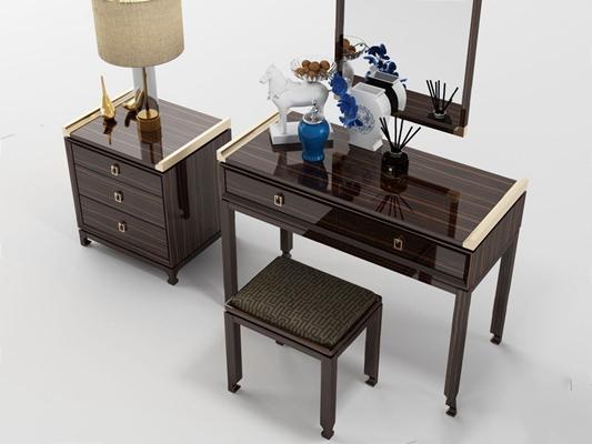 新中式床头柜梳妆台 新中式床头柜 梳妆台