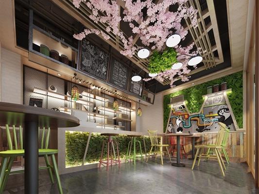 工业风饮品店 工业风餐饮空间 奶茶店 收银台 桌椅 吊灯 吧台 吧凳