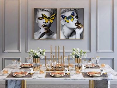 现代轻奢餐具摆件组合 现代餐具/厨具 厨具 餐桌 盘子 酒杯 勺子 刀叉 装饰画 烛台