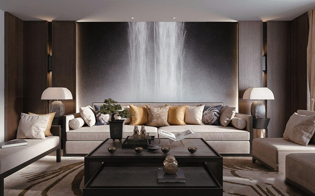 新中式沙發茶幾腳踏組合 新中式組合沙發 茶幾 腳踏 邊幾 臺燈 單人沙發 擺件飾品