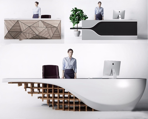 现代前台组合 现代前台接待 现代接待台 电脑 休闲椅