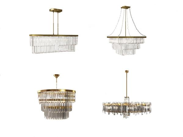 现代轻奢金属水晶吊灯组合3d模型