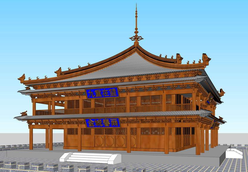 中式鼓楼SU模型