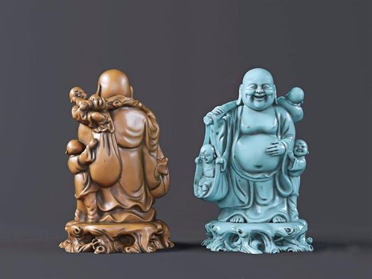 根雕托弥勒佛童子摆件 新中式根雕 托弥勒佛 童子摆件