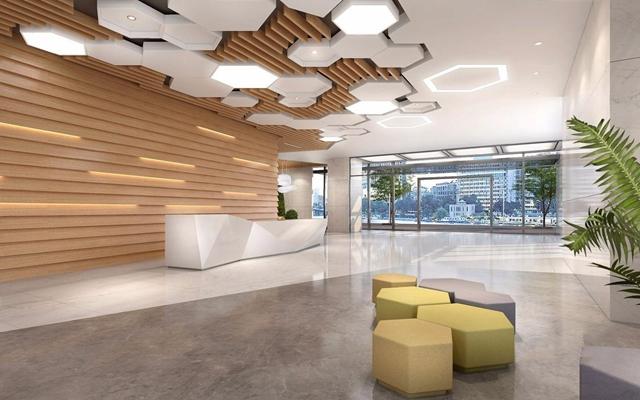 现代办公楼前厅 现代办公楼大厅 电梯厅 前台接待 吊顶 绿植 植物墙
