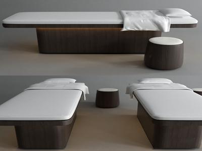 现代实木按摩床3d模型