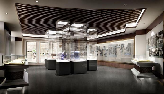 现代展览馆 现代展厅 展台 橱窗 瓷器 老照片 展览馆 博物馆