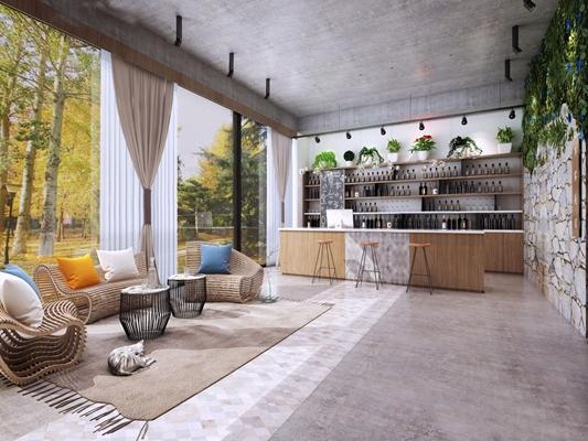 工业风民宿娱乐区 工业风前台 吧台 酒架 室外沙发 吃哈及 吧椅 绿植 窗帘