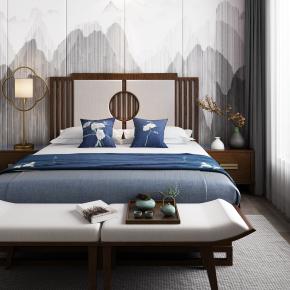 新中式双人床脚榻床头柜床头背景组合3D模型