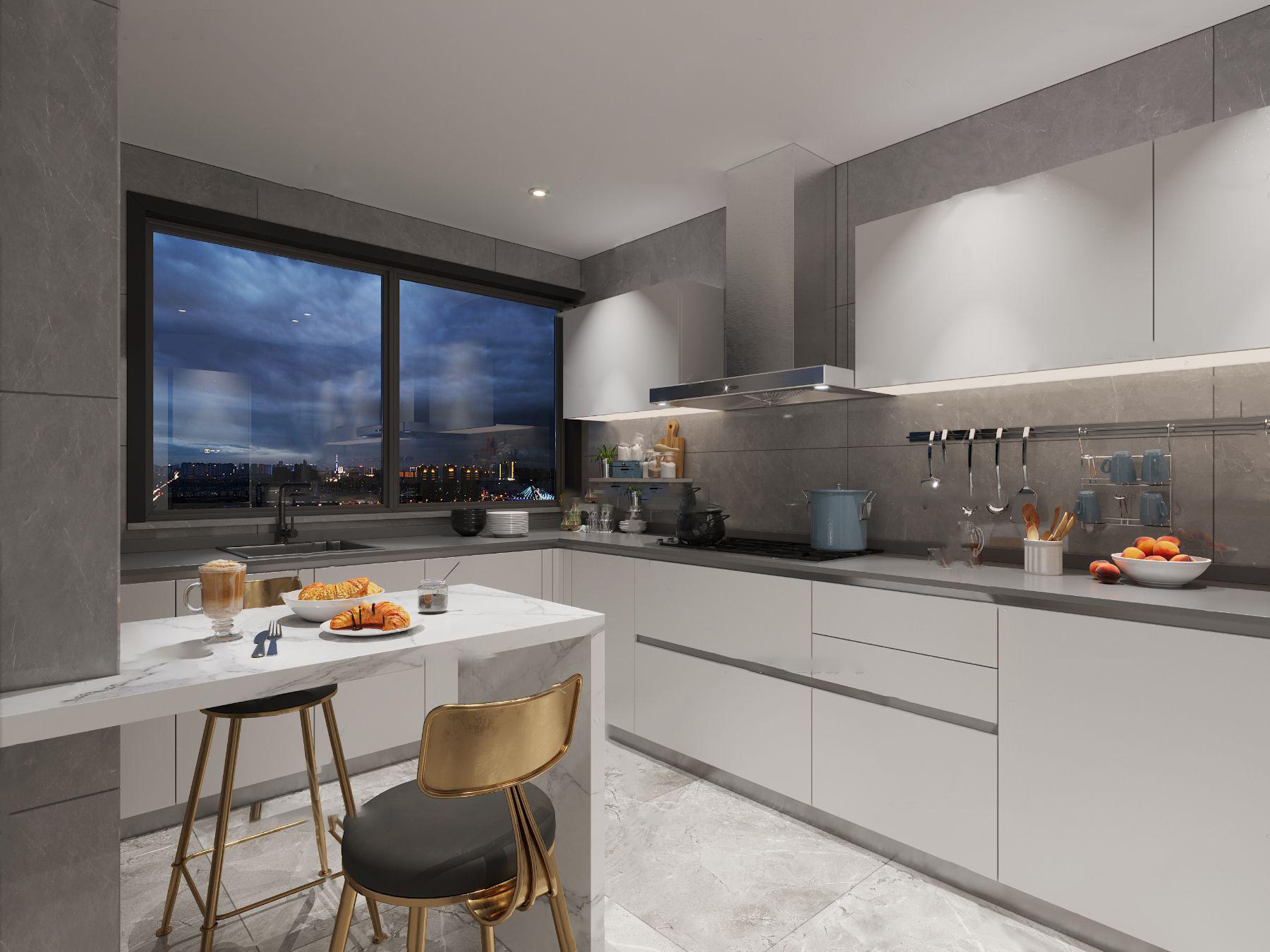 现代厨房橱柜餐椅3d模型
