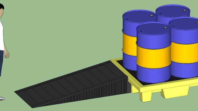 工业系列-设备-容器-鼓溢出遏制托盘W /斜坡和鼓 其他 桶 家居物品 水桶 箱包