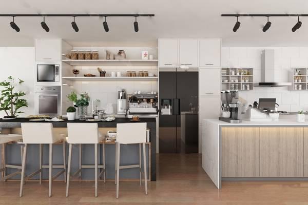 现代厨房3D模型 橱柜 置物架