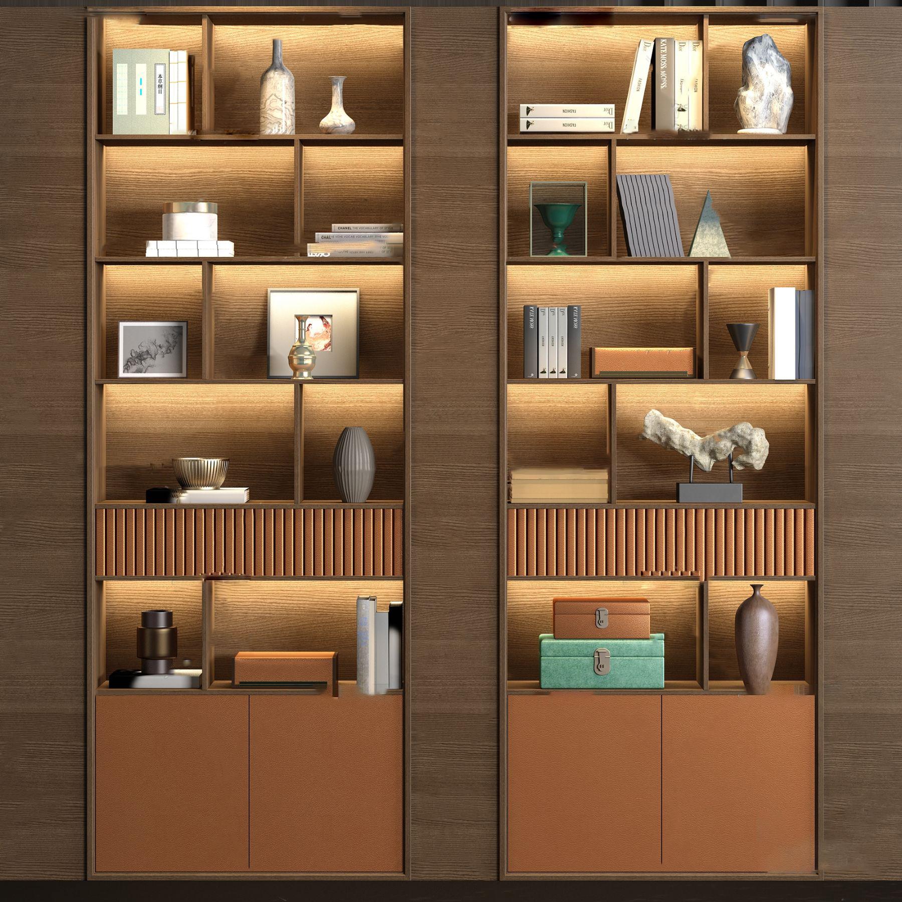 新中式实木皮革装饰柜3d模型