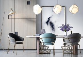 现代餐桌椅吊灯落地灯组合3D模型