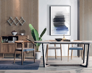 北欧餐桌椅餐边柜组合 北欧桌椅组合 餐边柜 实木椅 装饰画 绿植 盆栽
