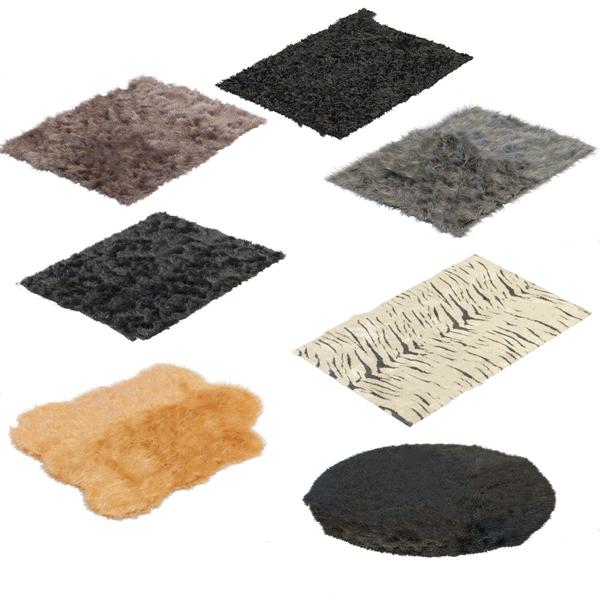 现代绒毛地毯3d模型