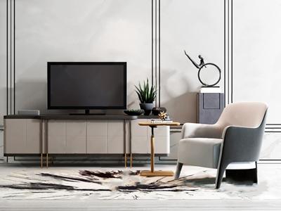 现代电视柜单椅组合 现代电视柜 单人沙发 角几 雕塑台 人物摆件