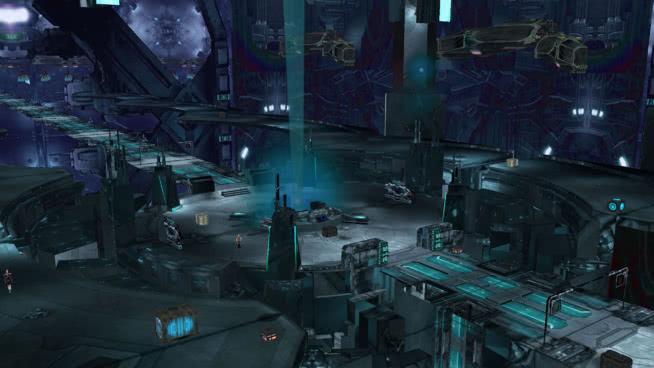 黑暗的科幻场景与入口/桥/出口和4PoD运营商 潜水员 收割机 叉车 蒸汽机车 机器