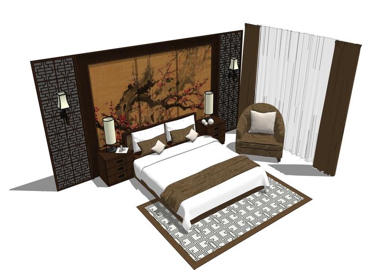 中式双人床SU模型