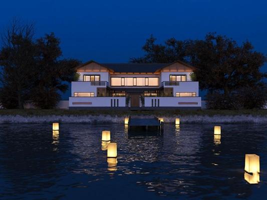 新中式别墅庭院外观 新中式建筑 庭院 外景 湖灯 湖水
