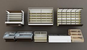 現代超市冷藏柜貨柜組合3D模型