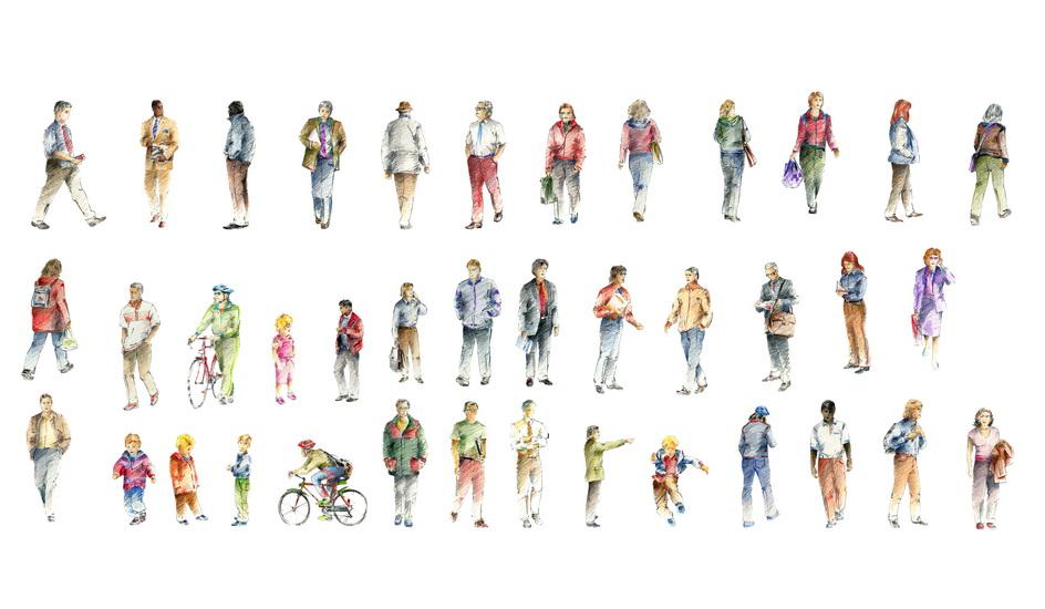2D手绘人物组合SU模型