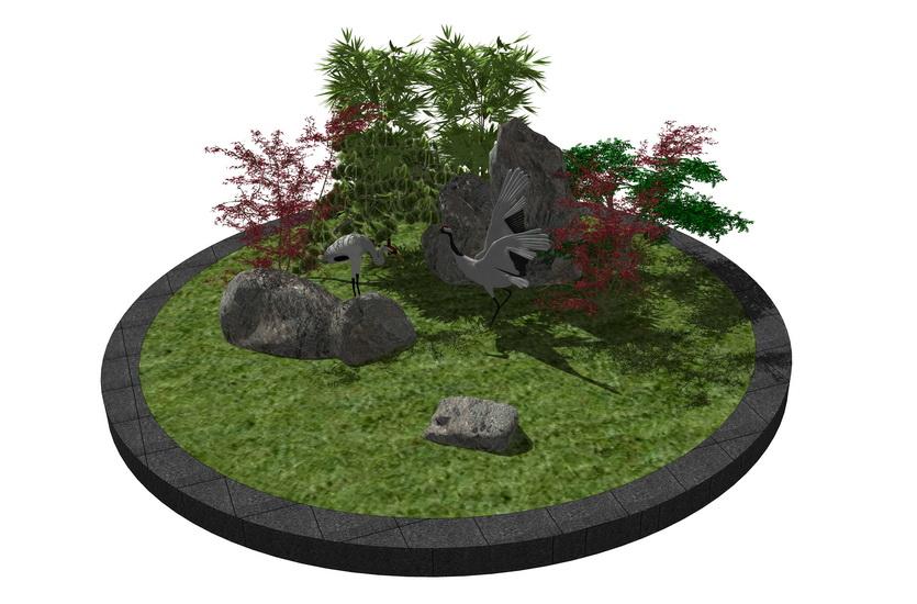 灌木石頭景觀小品組合SU模型