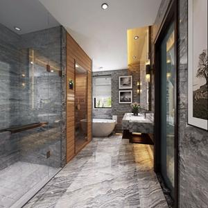 现代主卧卫生间 现代卫浴 淋浴房 浴缸 卫浴柜 洗脸台 镜子 墙饰 植物