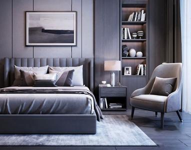 现代床椅子组合 现代双人床 床头柜 单椅 装饰柜