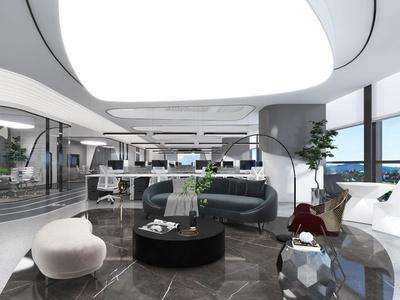 后現代簡約辦公室3d模型