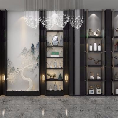 新中式实木装饰隔断柜3D模型