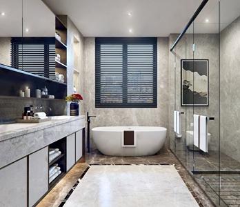 新中式卫生间 新中式卫浴 浴缸 卫浴柜 淋浴间 马桶